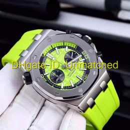 Wholesale good mens watches - Top quality luxury brand watch green rubber diving Chronograph Quartz wristwatch luminous super good look mens watches