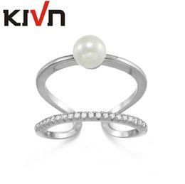 Wholesale Opal Mothers Ring - KIVN Fashion Jewelry Tiny Delicate Pave CZ Cubic Zirconia Simulated Pearl Rings for Women Mothers Day Birthday Christmas Gifts
