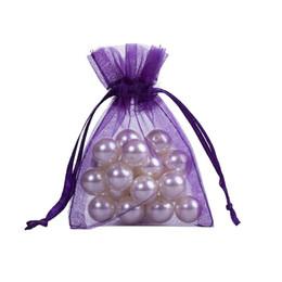 Wholesale 100 Stück Lila Organza Schmuck Geschenkbeutel x9cm X Zoll cremefarbene Kordelzug Organza Geschenk Süßigkeiten Taschen