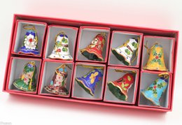 Wholesale Chinese Christmas Ornaments - Collectibles 10pcs Chinese Handmade Cloisonne Enamel Bell Ornament Charms Decor