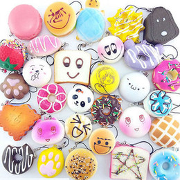 Wholesale Wholesale Bun Holder - Cute Mini Soft Random Squishy Phone Strap Keychain Simulation Medium Panda Cake Macaron Dessert Buns Phone Straps YYA423