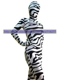 Wholesale Zebra Christmas Gifts - Wholesale-Custom Made Wholesale Adult Black and White Zebra Unisex Lycra Spandex Zentai Suit Halloween Cosplay Costume Christmas Gift