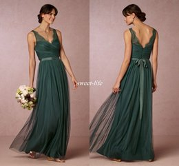 Wholesale Emerald Floor Length Bridesmaids Dresses - Elegant Emerald Green Long Bridesmaid Dresses 2016 Sheer V Neck Open Back Sash Floor Length Maid of Honor Dress Wedding Guest Formal Gowns