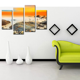 Wholesale Contemporary Wall Decorations - Modern Canvas Prints Artwork 4 Panels Contemporary Seascape Paintings on Canvas Wall Art for Home Decorations Decor Landscape