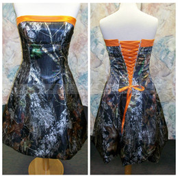 Wholesale Dress Min - Short Min Camo Bridesmaid Dresses Orange 2017 Lace Up Back Satin Bridesmaid Formal Party Gowns Cheap