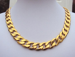 Wholesale Heavy Solid 24k Gold Necklaces - FINE YELLOW GOLD JEWELRY weighty Heavy! 108g 24k GF Stamp Real Yellow Solid Gold 23.6 Men's Necklace 12MM Curb Chain 600mm Jewelry mint-mar