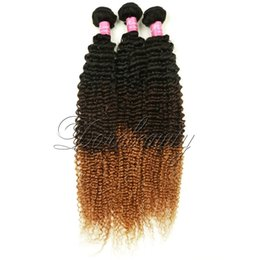 Wholesale Bleached Curly Weave - 3 Tone Ombre #1B 4 27 Kinky Curly Hair Wefts Peruvian Virgin Hair Weave 3Pcs Kinky Curl Bundles 100% Unprocessed Human Hair Extensions