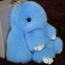 Wholesale Rabbit Ornaments - Cute little rabbit hair Rabbit fur plush mink key chain pendant bag pendant ornaments