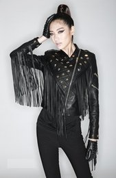 Wholesale Women S Punk Leather Jackets - 2017 newest top quality women's ladies female's black punk rivet stars tassels short motorcycle Locomotive leather jackets outwear