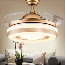 Wholesale Gold Crystal Pendant Ceiling Light - Modern simple invisible fan lamp Wireless control Crystal Ceiling Fans light Retractable 4 Blades Pendant lamp 42 inch Fans Chandelier