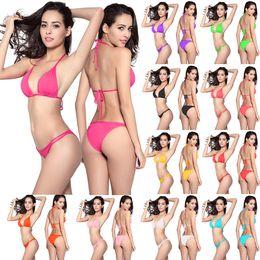 Wholesale Micro Bikinis Plus Sizes - Sexy bikini swimwear plus size bikini bandeau triangle micro bikini bathe suit push up bra string bikini set freeze thong swimsuit for woman
