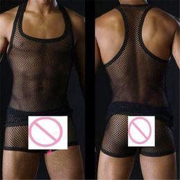 Wholesale Men Underwear Mesh Net - Wholesale- men's sexy tanks tops Male underwear Gay clothing mesh net Fashion man clothes Undershirts for men sleeveless vest fishnet