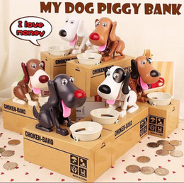 Wholesale Bank Love - Creative Automatic Eating Coin Hungry Dog Piggy Bank Money Box piggy bank Eat Money Save Pot Saving Coin Box I Love money KKA2656