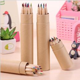 Wholesale Color Pencils Kids - eco-friendly colored Lead Color drawing pencil wood Colour Pencil Sets of 12 colour kids colored drawing pencils children Graffiti pens