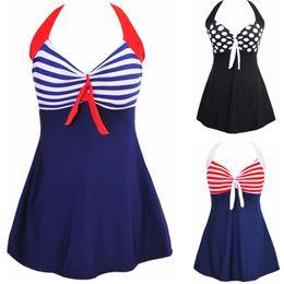 Wholesale Suit Skirt Dress - Fashion Sexy Stripe Padded Halter Skirt Swimwear Women One Piece Swimsuit Beachwear Bathing Suit Swimwear Dress Plus Size M-4XL
