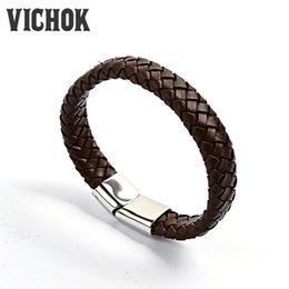Wholesale Hand Made Bracelets For Men - 316L Stainless steel Bracelet hand-made Weave leather bracelet 2 styles Top quality fashion Best Gift for women men Jewelry VICHOK