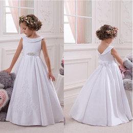 Wholesale Pure White Crystal Wedding Dresses - Jewel Satin Crystal A Line Appliques Bow Ruffle Floor Length Simple Flower Girl Dresses Wedding Dresses Pure