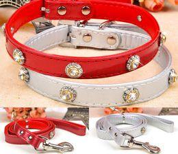 Wholesale Cat Training Collars - PU Luxury Diamond Small Middle Dog Cat Collar&Leash Top Quality Pet Training Leash Solid Dog Lead Dog Rope 3 Color 10PCS LOT