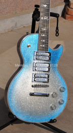 Finiture in argento online-Chitarra elettrica Ace Frehley Signature Blue Burst Silver Sparkle Finish Tastiera in ebano Lightning Inlay 3 Pickups