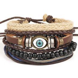 Wholesale Ethnic Charms Beads - New Punk Turkish Eyes Bracelets for Women Men Beads Wristband Cuff Leather Bracelet Ethnic Vintage Jewelry