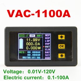 Wholesale Electrical Parameter - VAC1100A Digital voltage meter Wh table Coulomb Counter for display parameters voltage current power capacity watts 120V 100A