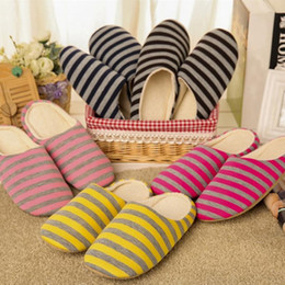 Wholesale Red Winter Indoor Slippers - 2017 Slippers Indoor Pantufas Winter Cotton Striped Slipper Home Shoes Soft Floor Household Plush Chinelos Wholesale