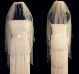 Wholesale Two Tier Fingertip Veil - New 2 Tiers White Ivory Wedding Veils Fingertip Length Bridal Veil Crystal Comb