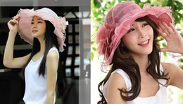 Wholesale Adult Easter Dresses - Fascinator Oranza Gauze Flower Wide Brim Hat Kentucky Derby Church Evening Dress Hat Cocktail Party Bridal Wedding cap Top Hat Summer Sun Ha