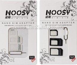 Adaptateur 4 en 1 Noosy Nano Micro SIM Eject Pin Pour Iphone 5 Pour Iphone 4 4S 6 Carte SIM Retail Box Samsung ? partir de fabricateur