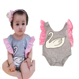 Wholesale Cute Rompers For Infant Girls - Baby Girl Rompers 2017 Summer New Cute Swan Fly Sleeve Girls Jumpsuit Romper Cartoon Animal Infant Romper Bodysuit For Baby Girl Clothes