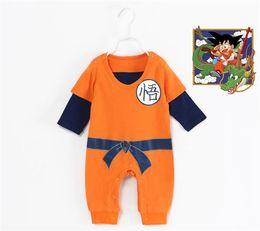 Wholesale baby dragons - New Dragon Ball Type Autumn Baby Jumpsuit Romper Superman Goku Siamese Kazakhstan Romper Half-Sleeved Cotton Infantil Clothes
