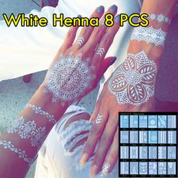 Wholesale New Body Tattoos - 8pcs lot White Henna Tattoo Non-toxic Temporary Tattoo Luxuriant Sexy Jewelry & Body Tattoo! New Trending Wedding Henna Tattoos!