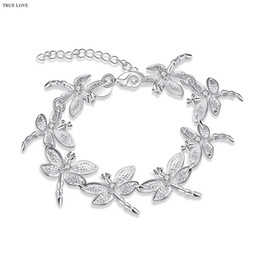 Wholesale Low Price Sterling Silver Charms - Brand design 925 sterling silver dragonfly charm bracelet with zircon fashion jewelry lovely Christmas gift good quality low price wholesale