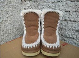 Wholesale Woman Slip Warm - warm winter mou snow boots real nubuck suede leather women casual fashion thread sewing mid flat boot