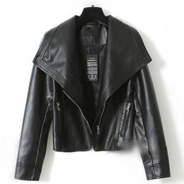 Wholesale Large Lapel Leather - Wholesale-2016 Brand Autumn Winter Large lapel Leather jacket Women Outerwear jaqueta couro Pu veste en cuir femme Zipper Motorcycle Coat