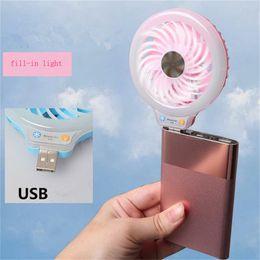 Wholesale Beauty Banking - Beauty Handheld LED Night Light USB Mini Fan Portable Selfie fill Light with Small Fan for Power Bank Smartphones Pocket USB Fan