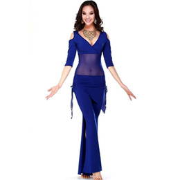 Wholesale Silk Pants For Women - Hot Sale !!! 2016 New Haft-sleeved Mesh&Milk Silk Belly Dance Costumes Women For Practice Training Top&Pants(With Hip Scarf)