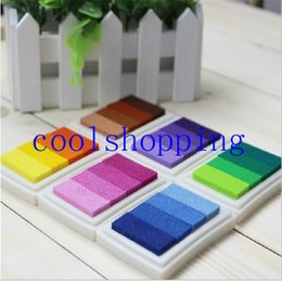 Wholesale Homemade Rubber - Homemade DIY Gradient Color ink Pad Multicolour Inkpad Stamp Decoration Fingerprint Scrapbooking Accessories