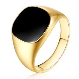 Wholesale Cheap Black Wedding Bands - XS Fashion Men Jewelry Black Rings Zinc Alloy Wedding Bands Cheap Men Ring Hot Sale White Gold Color Smooth Rings Anel Wholesale R178
