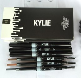 Wholesale End Brush - Kylie Eyebrow Pencil Waterproof Double ended with Brush 2 in 1 Eye brow Pencil KYLIE Jenner Makeup 3 Color