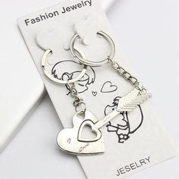 "Wholesale Crystal Wedding Keychain - Lovers keychain Cupid's Arrow Heart Key Chain Alloy Ring Chain Set couple Metal Key Rings ""capture your heart"" wedding gifts"