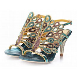 Wholesale Size 34 Silver Heel - hot 2016 new fashion crystal peacock rhinestone high heels gladiator sandals open toe hollow buckle summer pumps women shoes big size 34-44