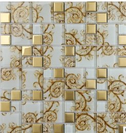 Wholesale Crystal Glass Tiles Wholesale - Hot mirror crystal glass mosaic TV background wall mosaic tile D-938 European style living room bedroom