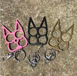 Wholesale Thick Steel Chain - fashion cat key chain safety equipment ring finger tiger GILDED THICK STEEL BRASS KNUCKLE DUSTER Protective Gear unisex 3 colors