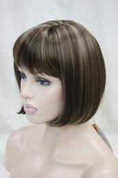 evidenzia la bionda marrone chiaro Sconti nuova vogue light brown / blonde highlight mix side skin parte superiore parrucca sintetica bob