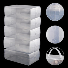 Wholesale Transparent Plastic Shoe Storage Boxes - 5 X Shoes Wrapped Plastic Transparent Fashion Storage Box Drawer Type Plastic Shoes Box Drawer Storage