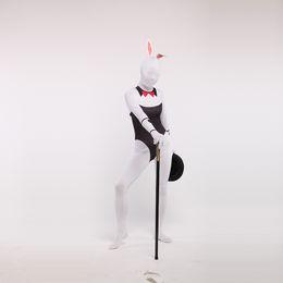 Bodysuit branco do dia das bruxas on-line-Nova marca preto e branco Lycra Zentai Bodysuit Spandex Bunny Girl Cosplay para o Halloween