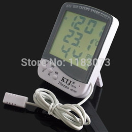 Wholesale Thermometer Big - Big LCD Indoor Outdoor Thermometer Hygrometer MAX-MIN Thermo Tester Household Clock Weather Stations With1.5M Sensor Probe Free Shipping