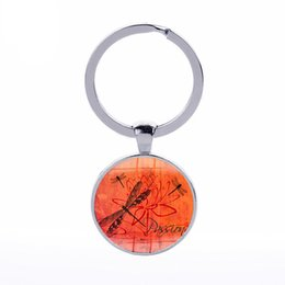 Wholesale Handmade Keyring - Butterfly Keychain Dragonfly Glass Cabochon Vintage Dome Charm Keyring Dreamer Handmade DIY Women Jewelry Gift Wholesale