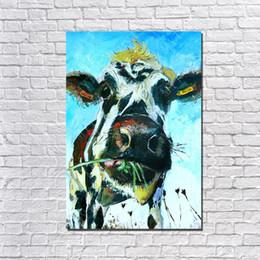 pintura al óleo hierba Rebajas Hecho a mano moderno La vaca come hierba Pintura al óleo sobre lienzo Moderno Lienzo Arte de la pared Living Room Decor Picture Pintura al óleo barata
